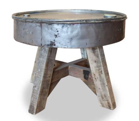 vidaXL Soffbord i massivt återvunnet trä 60x45 cm silver[2/8]