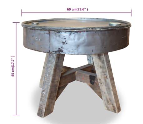 vidaXL Soffbord i massivt återvunnet trä 60x45 cm silver[8/8]