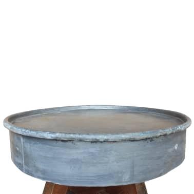 vidaXL Soffbord i massivt återvunnet trä 60x45 cm silver[5/8]