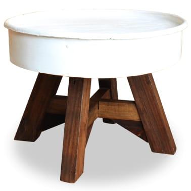 vidaXL Konferenční stolek, masivní recyklované dřevo, bílý, 60x45cm[1/8]