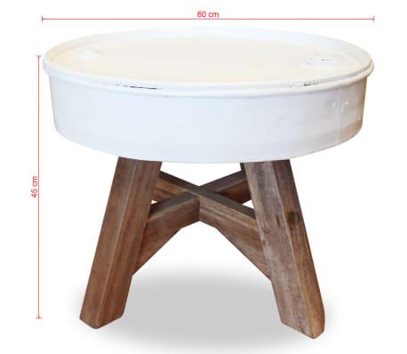 vidaXL Konferenční stolek, masivní recyklované dřevo, bílý, 60x45cm[8/8]