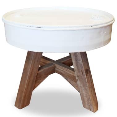 vidaXL Konferenční stolek, masivní recyklované dřevo, bílý, 60x45cm[2/8]