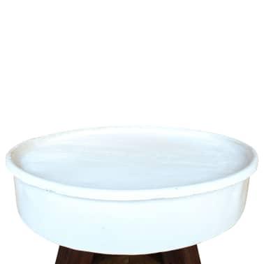 vidaXL Konferenční stolek, masivní recyklované dřevo, bílý, 60x45cm[4/8]