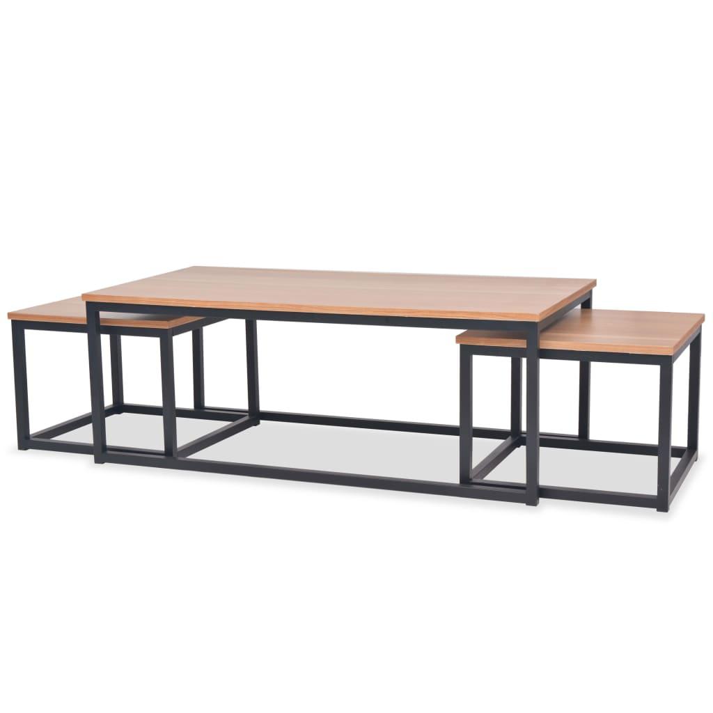vidaXL Juego de mesas centro madera fresno 3 piezas