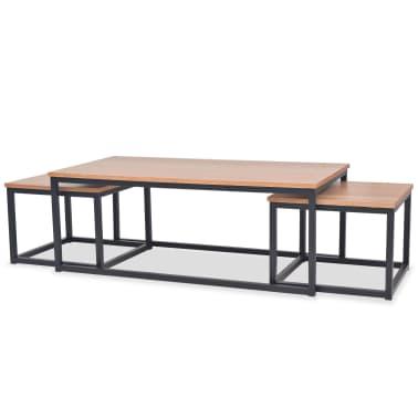vidaXL Table basse 3 pcs Bois de frêne[1/9]