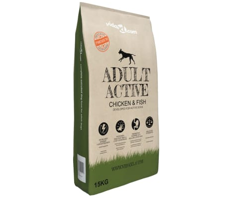 vidaXL Premium Hundmat torr Adult Active Chicken & Fish 15 kg
