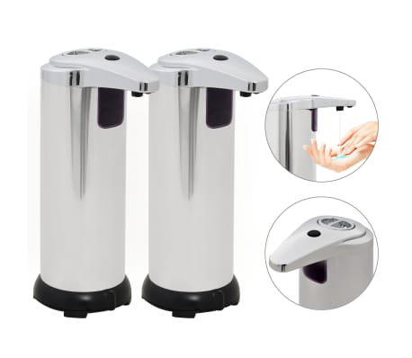 vidaXL Automat. muilo dozatoriai, 2 vnt., infrar. spind. jut., 600 ml[1/9]