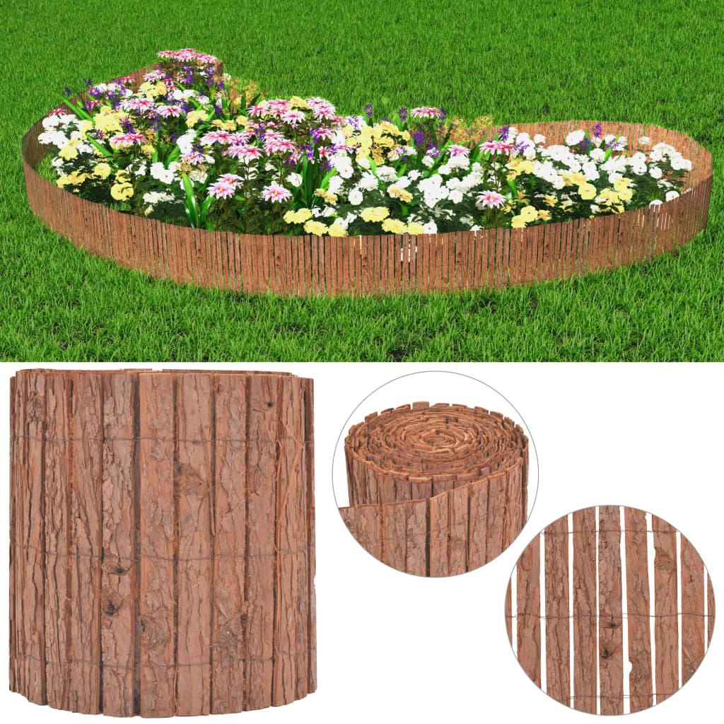 vidaXL Zahradní plot, kůra, 1000 x 30 cm