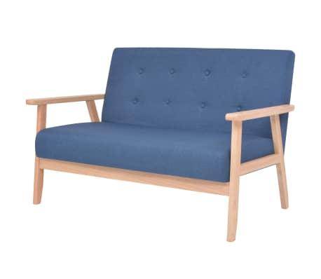 vidaXL Kavč dvosed iz blaga modre barve