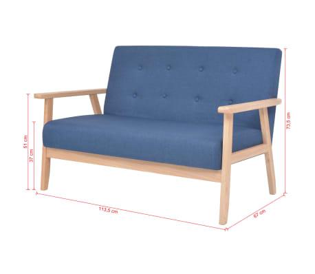 vidaXL Dvivietė sofa, audinys, mėlynas[7/7]