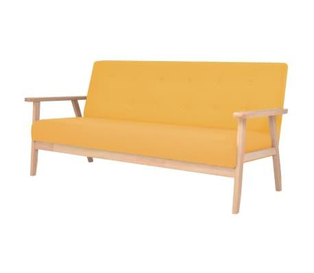 vidaXL Sofá de 3 lugares em tecido amarelo
