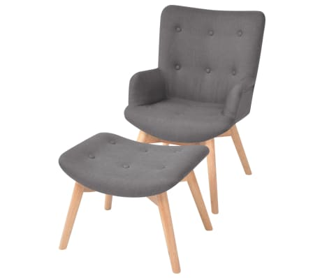 Vidaxl Sessel Mit Fusshocker Stoff Grau Gunstig Kaufen Vidaxl De