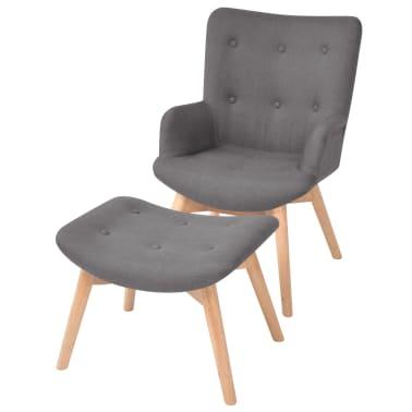vidaXL Armchair with Footstool Fabric Grey[1/10]