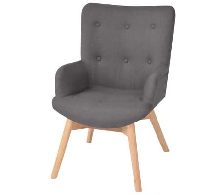 vidaXL Armchair with Footstool Fabric Grey[2/10]