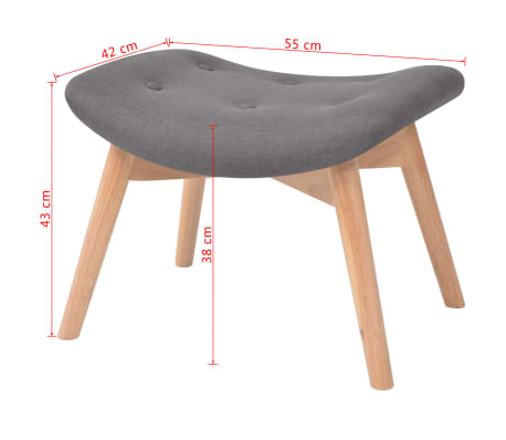 vidaXL Armchair with Footstool Fabric Grey[10/10]