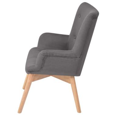 vidaXL Armchair with Footstool Fabric Grey[3/10]
