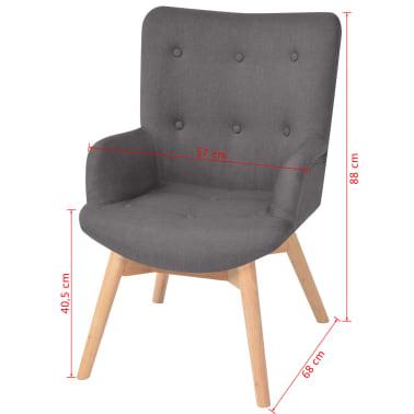 vidaXL Armchair with Footstool Fabric Grey[9/10]