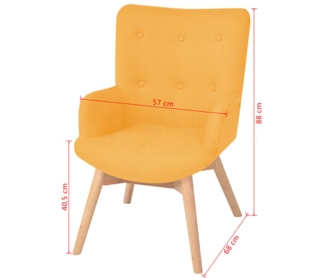 vidaXL Πολυθρόνα Κίτρινη Υφασμάτινη με Υποπόδιο[9/10]