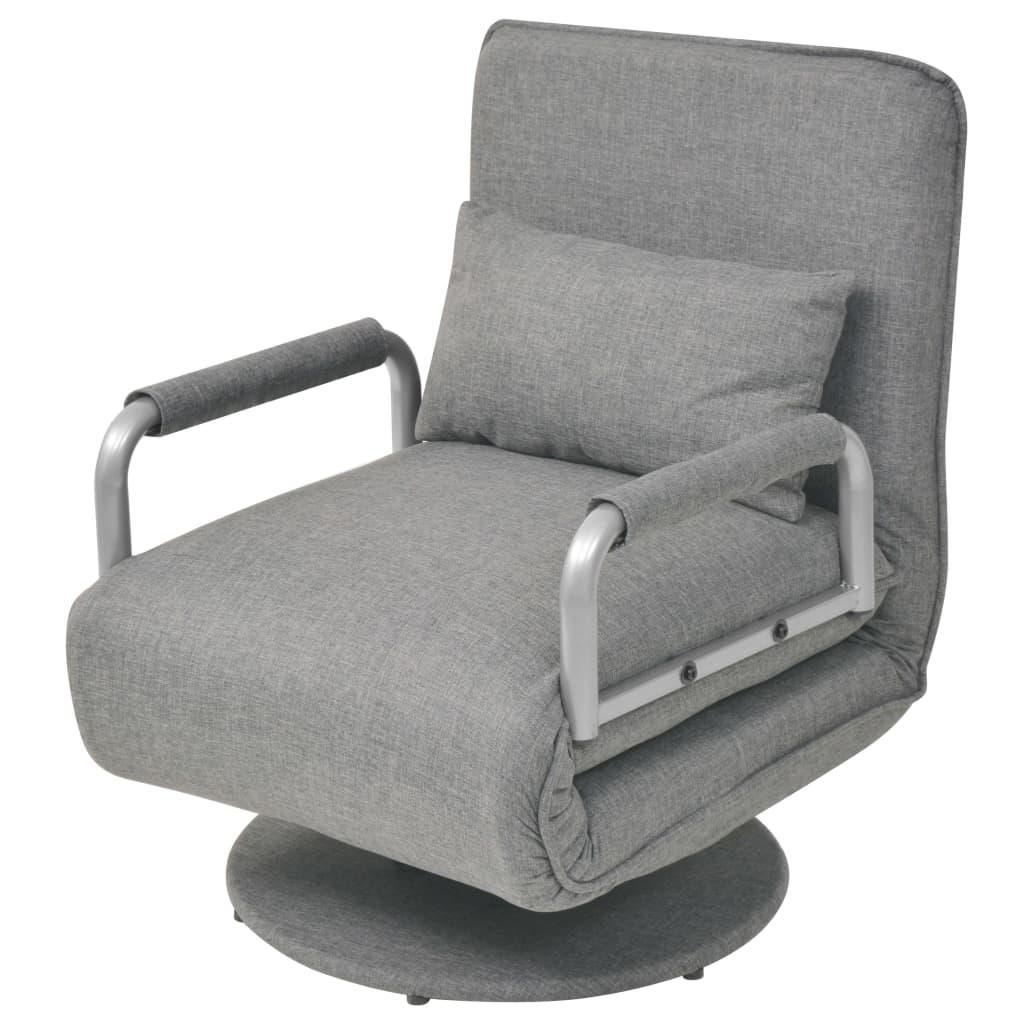 vidaXL Obrotowy fotel rozkładany, jasnoszary, tkanina