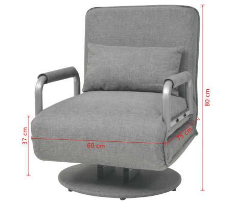 vidaXL Supamoji kėdė ir sofa-lova, šviesiai pilka, 60x75x80cm[12/13]