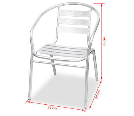 vidaXL Stapelbara stolar 2 st aluminium[7/7]