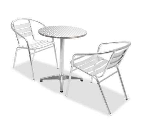 vidaxl bistro set 3 tlg runder tisch und stapelbare st hle aluminium g nstig kaufen. Black Bedroom Furniture Sets. Home Design Ideas