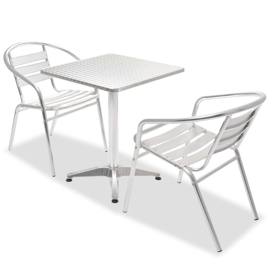 vidaXL Σετ Επίπλων Bistro 3 τεμ. με Στοιβαζόμενες Καρέκλες Αλουμινίου