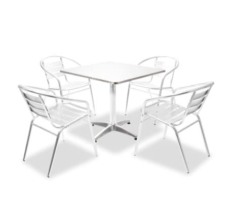 acheter vidaxl table carr e et chaises empilables 5 pcs aluminium pas cher. Black Bedroom Furniture Sets. Home Design Ideas