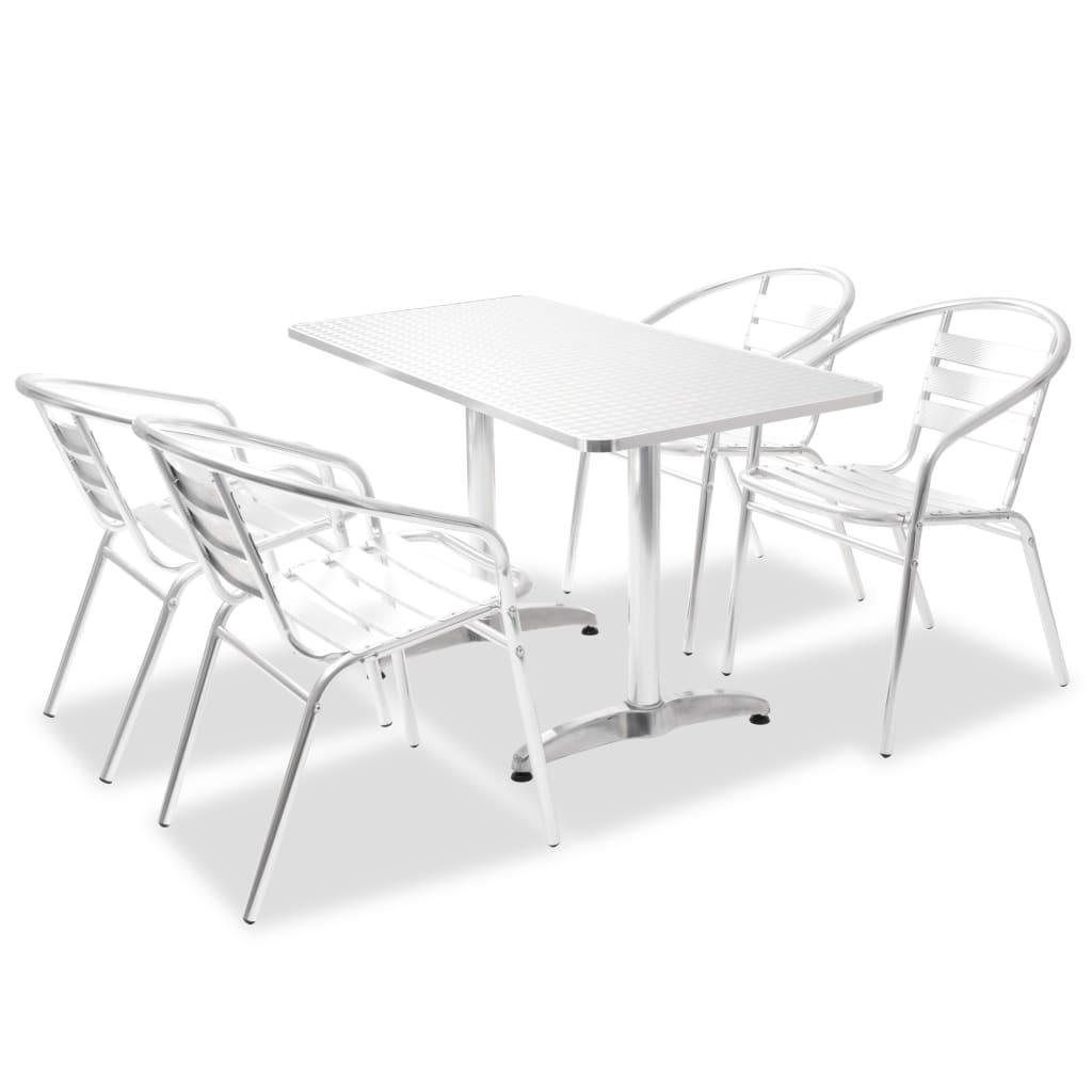 vidaXL Zahradní jídelní set 5 ks obdélníkový stohovatelné židle hliník