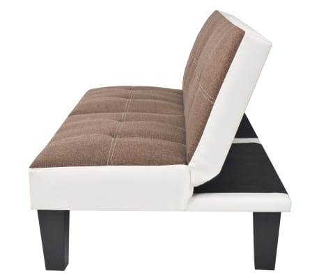 vidaXL reguliuojama sofa-lova, PVC audinys, ruda ir balta[2/9]