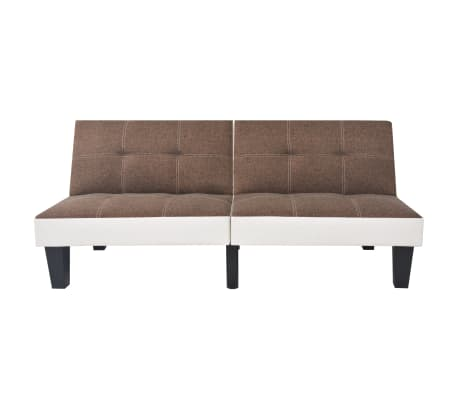 vidaXL reguliuojama sofa-lova, PVC audinys, ruda ir balta[3/9]