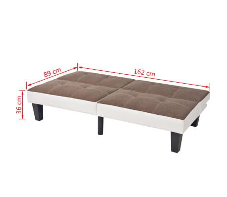vidaXL reguliuojama sofa-lova, PVC audinys, ruda ir balta[9/9]