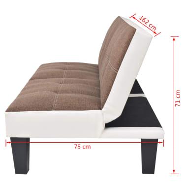 vidaXL reguliuojama sofa-lova, PVC audinys, ruda ir balta[8/9]