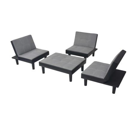 Vidaxl sof cama modular duplo tecido pvc Sofa cama modular