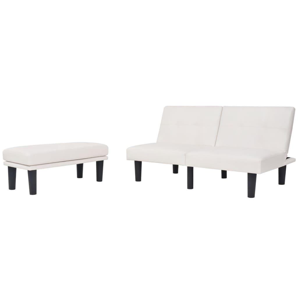 vidaXL Καναπές-Κρεβάτι Αρθρωτός Ρυθμιζόμενος Λευκός από PVC