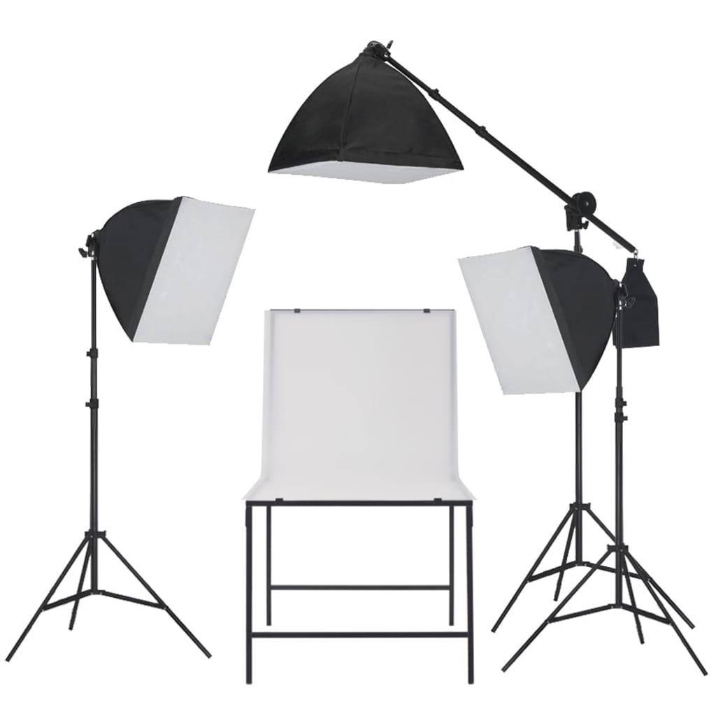 vidaXL Studiová světla se softboxy, set s produktovým stolem