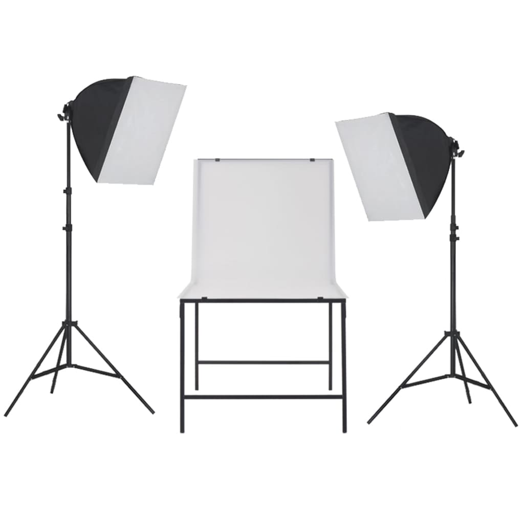 vidaXL Kit studio foto cu iluminare softbox și masă foto imagine vidaxl.ro