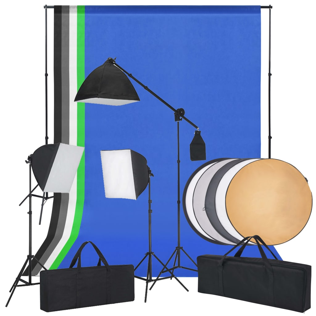 vidaXL Kit studio foto cu lumini softbox, fundaluri și un reflector imagine vidaxl.ro