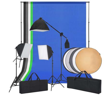 vidaXL Fotostudioset met softboxlampen, achtergronden en reflector