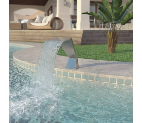 "vidaXL Pool Fountain Stainless Steel 25.2""x11.8""x20.5"" Silver[1/7]"