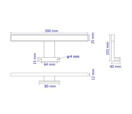 vidaXL Lámpara de espejo 5 W luz blanca cálida[8/8]