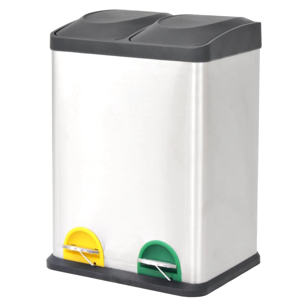 vidaXL Odpadkový koš na tříděný odpad, nerezový, 2x18 L