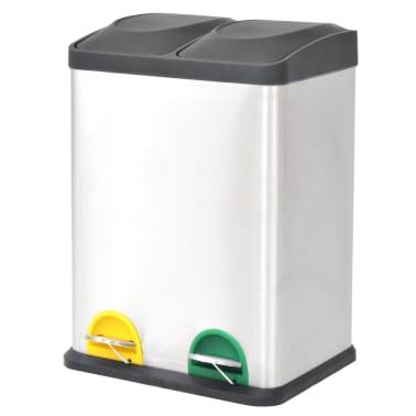 vidaXL Cubo de reciclaje y basura con pedal acero inoxidable 2x18 L[1/5]