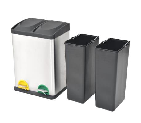 vidaXL Cubo de reciclaje y basura con pedal acero inoxidable 2x18 L[2/5]