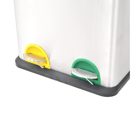 vidaXL Cubo de reciclaje y basura con pedal acero inoxidable 2x18 L[3/5]