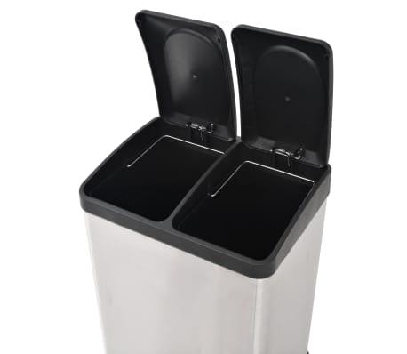 vidaXL Coș gunoi cu pedale pentru reciclare, oțel inoxidabil, 2 x 18 L[5/5]