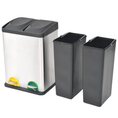 vidaXL Coș gunoi cu pedale pentru reciclare, oțel inoxidabil, 2 x 18 L[2/5]