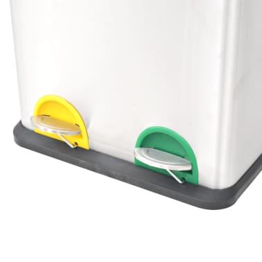vidaXL Coș gunoi cu pedale pentru reciclare, oțel inoxidabil, 2 x 18 L[3/5]