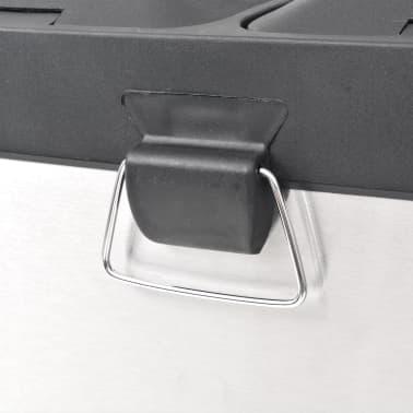 vidaXL Cubo de reciclaje y basura con pedal acero inoxidable 2x18 L[4/5]