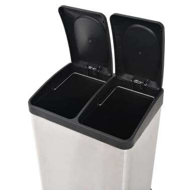 vidaXL Cubo de reciclaje y basura con pedal acero inoxidable 2x18 L[5/5]